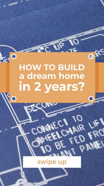 Szablon projektu House Plans Blueprints on table in blue Instagram Story