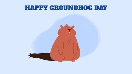 Happy Groundhog Day with funny animal Full HD video Modelo de Design
