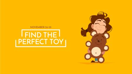 Plantilla de diseño de Girl Hugging Teddy Bear Toy Full HD video