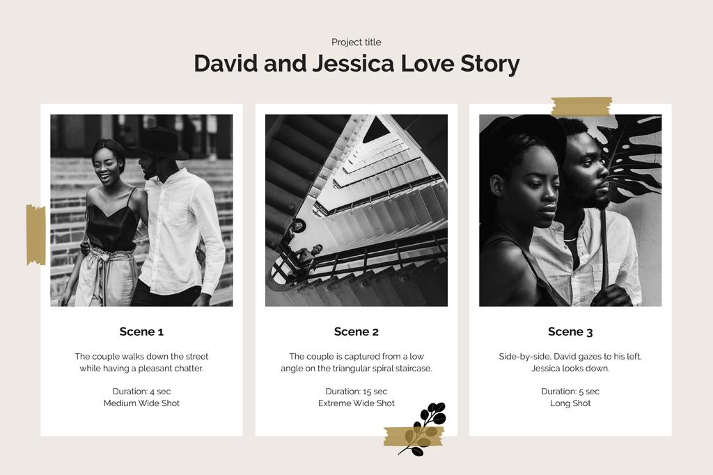 Love Story of Couple in City Storyboard Design Template
