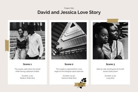Ontwerpsjabloon van Storyboard van Love Story of Couple in City