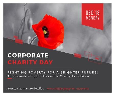 Corporate Charity Day announcement on red Poppy Facebook – шаблон для дизайну