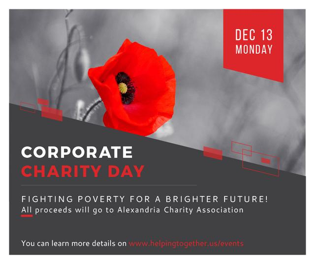 Ontwerpsjabloon van Facebook van Corporate Charity Day announcement on red Poppy