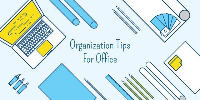 Organization tips for office banner Image Modelo de Design