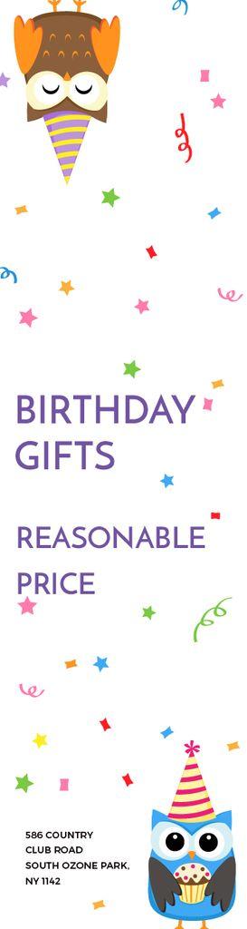 Plantilla de diseño de Birthday Gifts Offer Party Owls Skyscraper