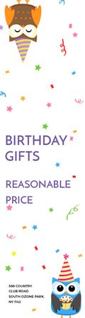 Birthday Gifts Offer Party Owls Skyscraper – шаблон для дизайна