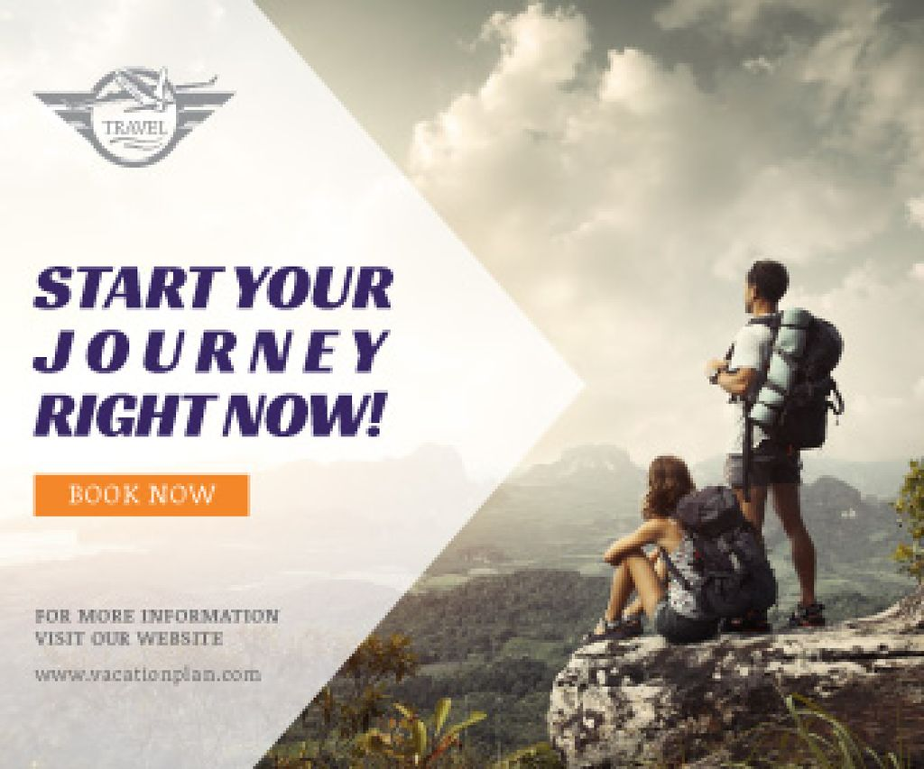 Outdoor Trip Inspiration Backpacker Sitting on Cliff | Large Rectangle Template — Створити дизайн