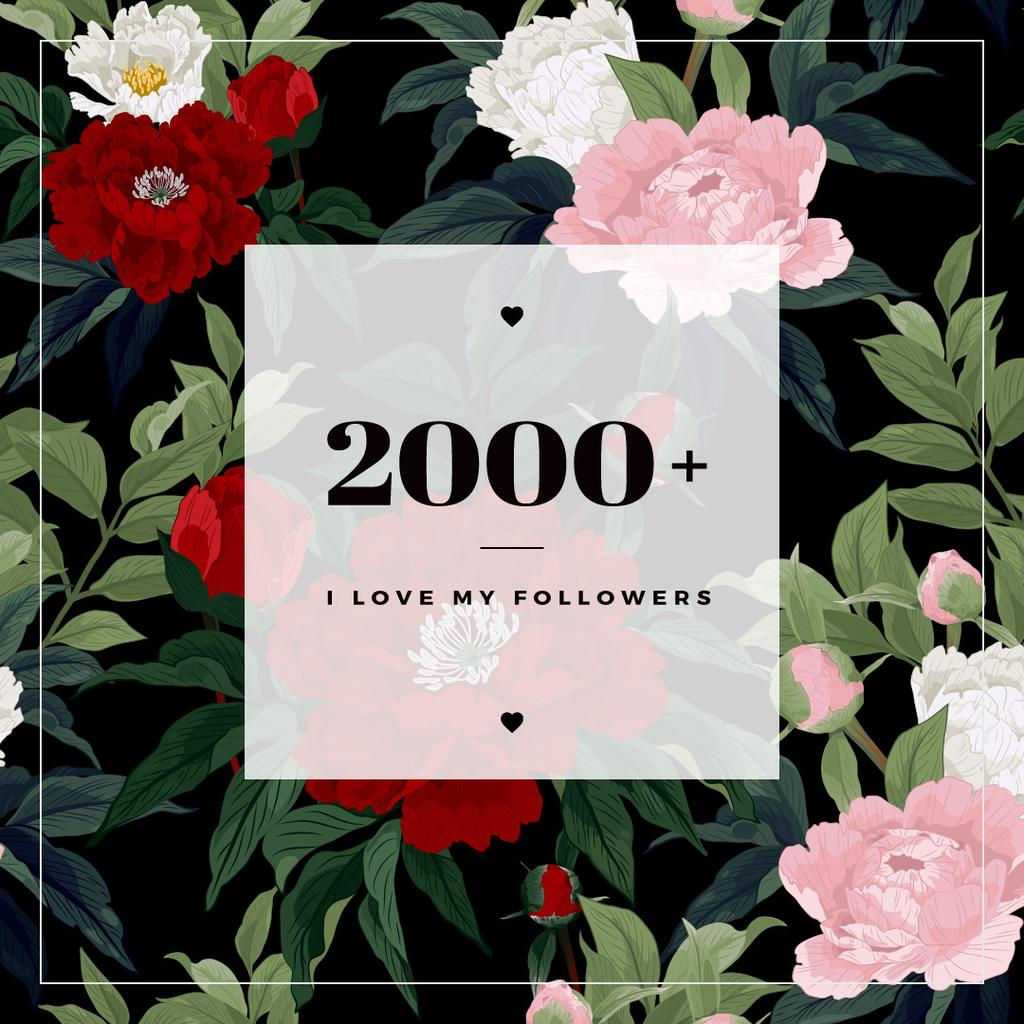 2000 followers poster on floral background — Créer un visuel
