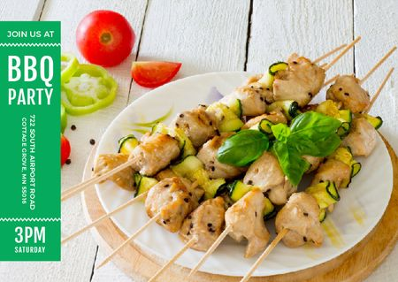 Template di design BBQ Party Grilled Chicken on Skewers Postcard