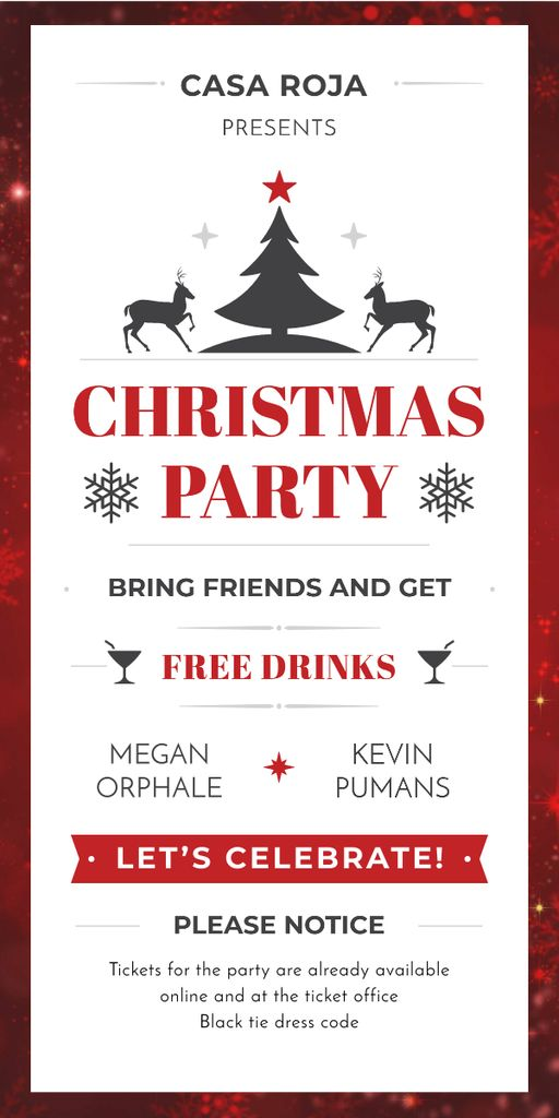 Christmas Party Invitation with Deer and Tree — Crea un design