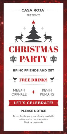 Plantilla de diseño de Christmas Party Invitation with Deer and Tree Graphic