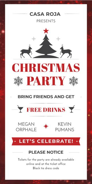 Modèle de visuel Christmas Party Invitation with Deer and Tree - Graphic