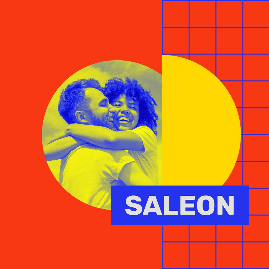 Colorful Ad with smiling Young Couple — Modelo de projeto