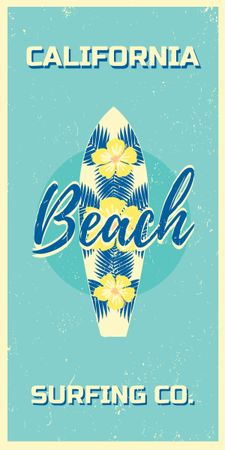 Template di design Surfing Tour Offer Surfboard on Blue Graphic