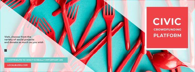 Crowdfunding Platform Red Plastic Tableware Facebook cover Modelo de Design