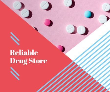 Ontwerpsjabloon van Medium Rectangle van Drugstore Ad Pills on Pink Surface