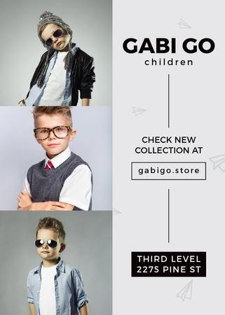 Children clothing store with stylish kids Invitation Modelo de Design