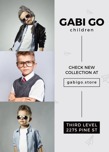 Plantilla de diseño de Children clothing store with stylish kids Invitation