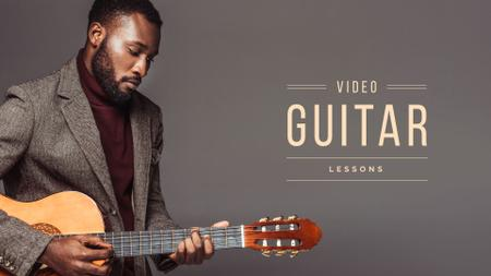 Ontwerpsjabloon van Presentation Wide van Video guitar lessons Offer with man playing guitar