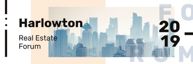Real Estate Forum Announcement with Modern City Buildings Email header Modelo de Design