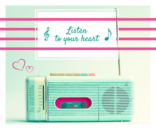 Ontwerpsjabloon van Facebook van Inspirational quote Retro Radio in Mint color