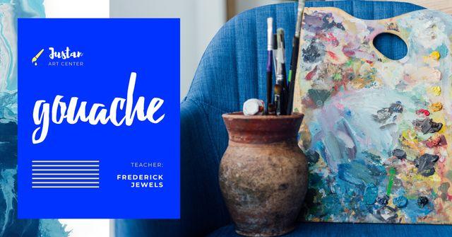 Designvorlage Art Classes Ad with Supplies and Brushes für Facebook AD