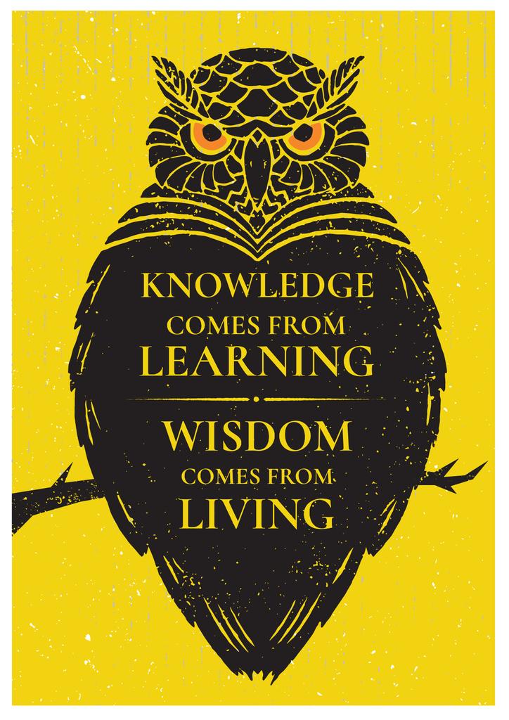 Ontwerpsjabloon van Poster van Knowledge quote with owl
