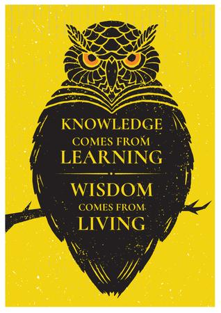 Knowledge quote with owl Posterデザインテンプレート
