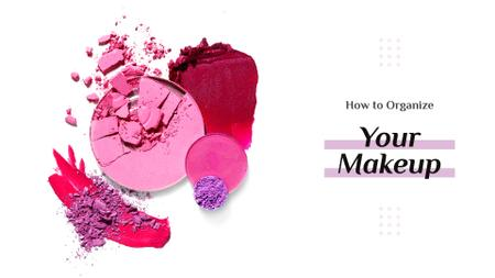 Makeup Tips with Pink Blush Presentation Wide Modelo de Design