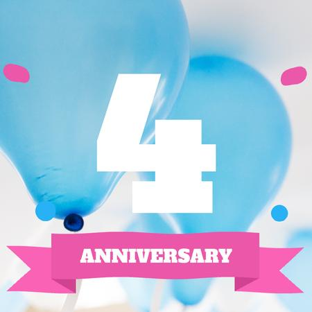 Plantilla de diseño de Anniversary celebration with Blue Balloons Animated Post