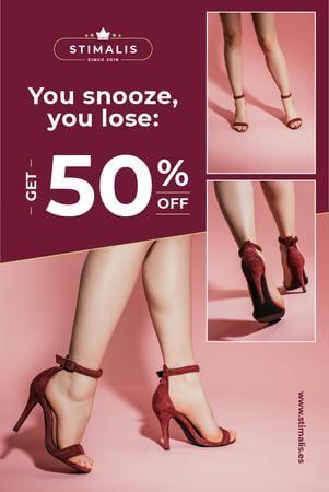 Szablon projektu Fashion Sale with Woman in Heeled Shoes Pinterest