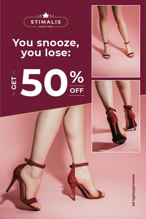 Fashion Sale with Woman in Heeled Shoes Pinterest Tasarım Şablonu