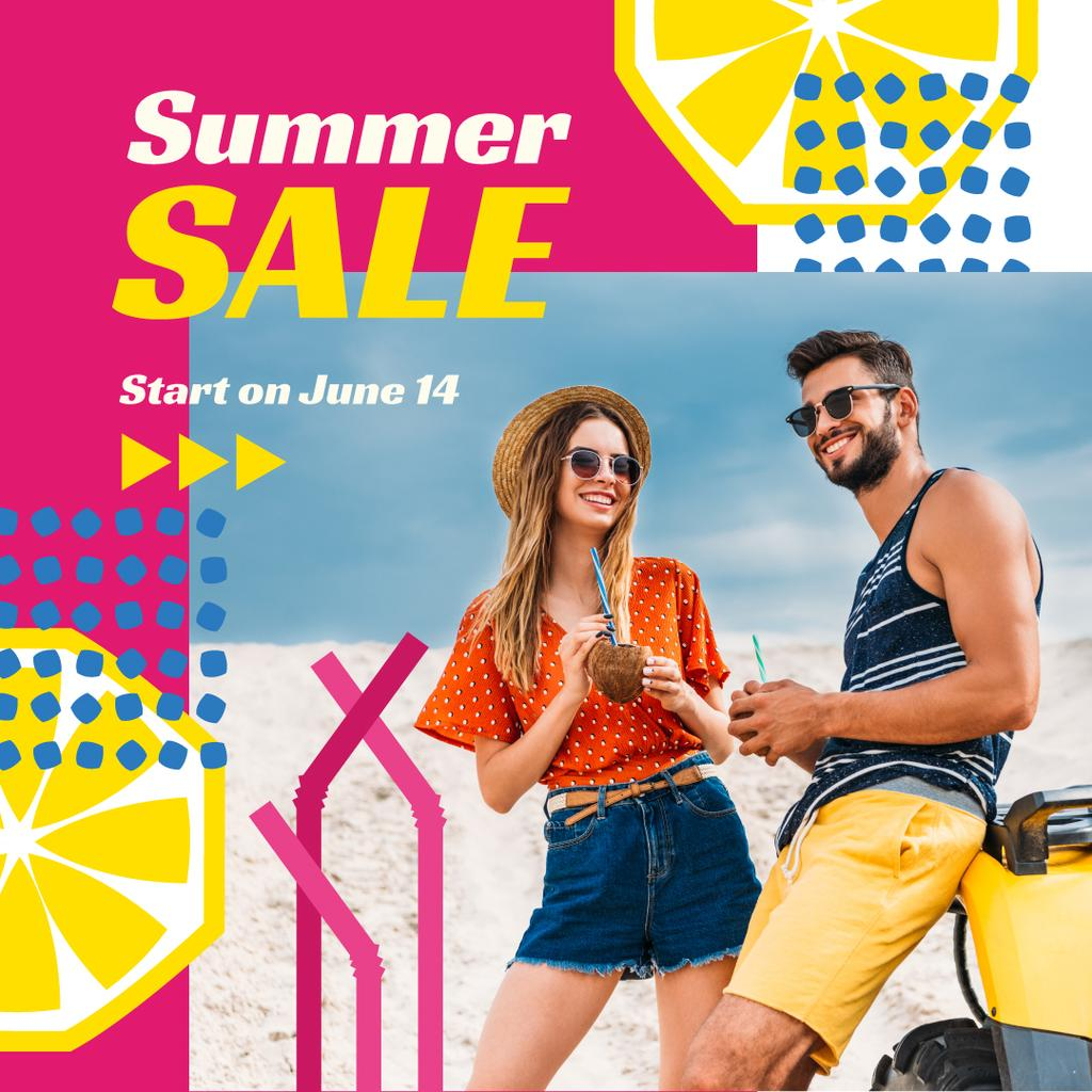 Summer Offer with Couple at the Beach — Maak een ontwerp