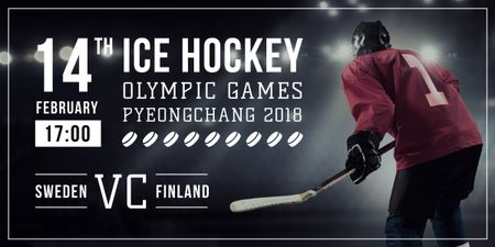 Ontwerpsjabloon van Image van Olympic Hockey Match with Player on Ice