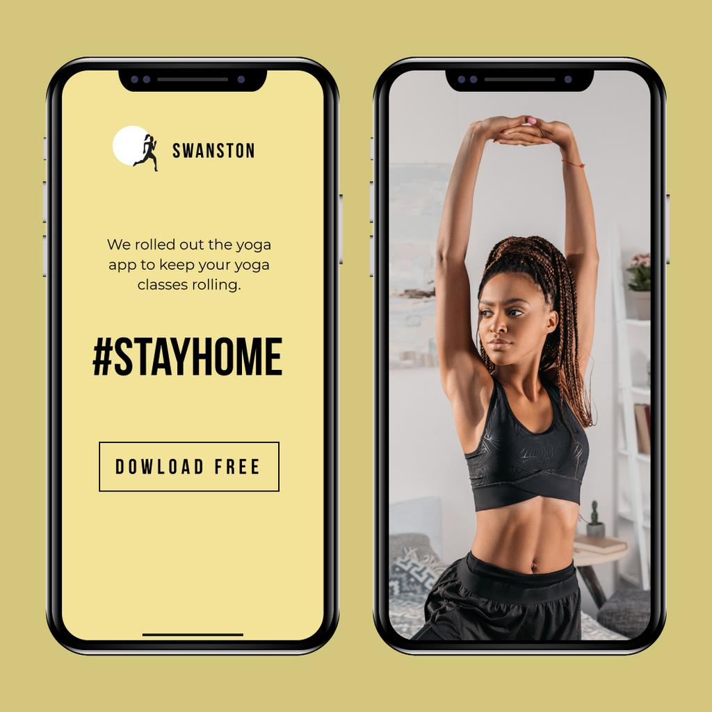 #StayHome Yoga App promotion with Woman exercising — Crear un diseño