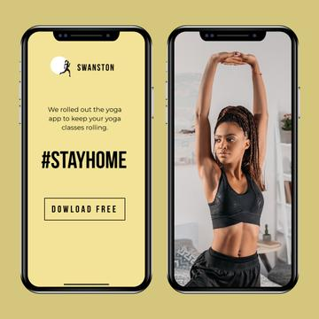 #StayHome Yoga App promotion with Woman exercising