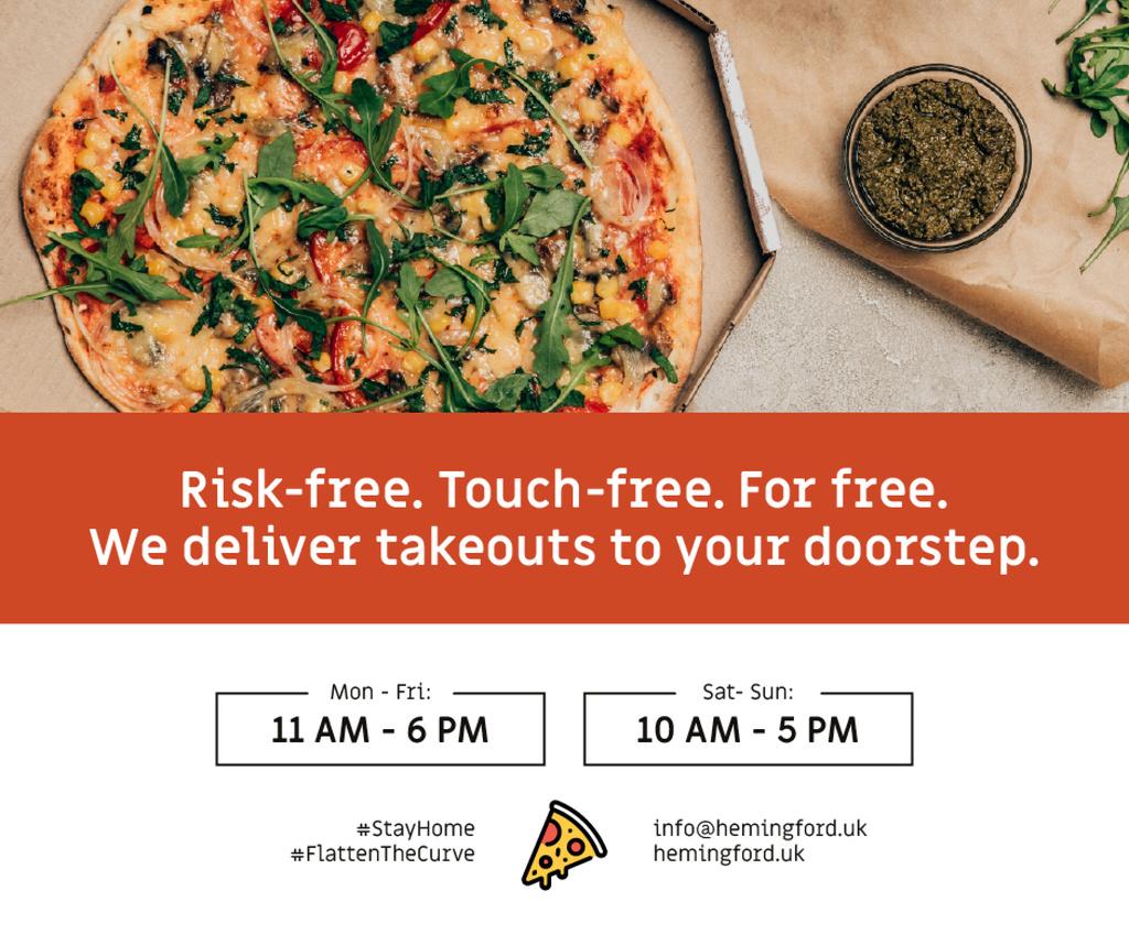 Plantilla de diseño de #StayHome Delivery Services offer with Pizza Facebook