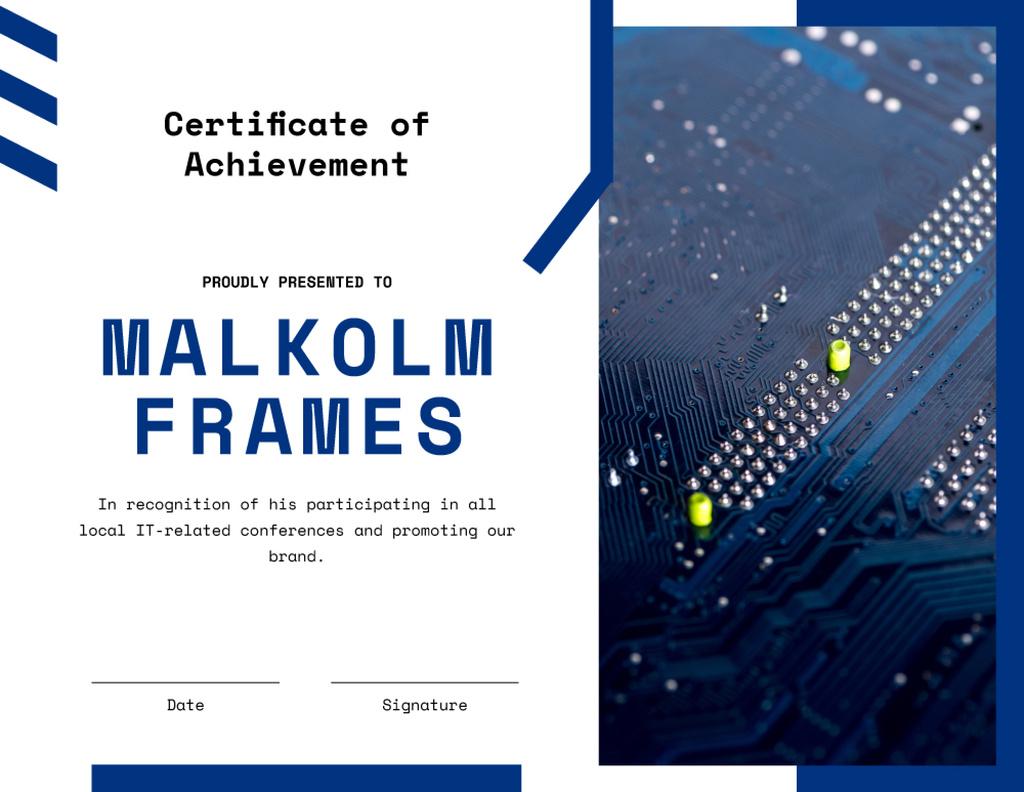 Modèle de visuel IT company employee Achievement confirmation - Certificate