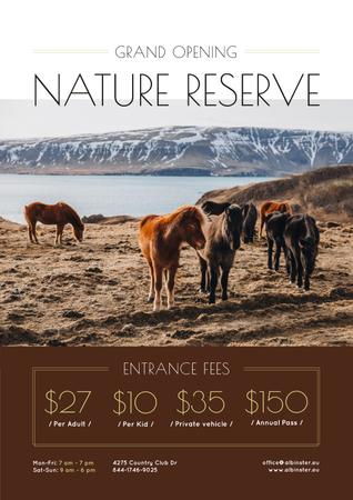 Nature Reserve Grand Opening Announcement Herd of Horses Poster Tasarım Şablonu