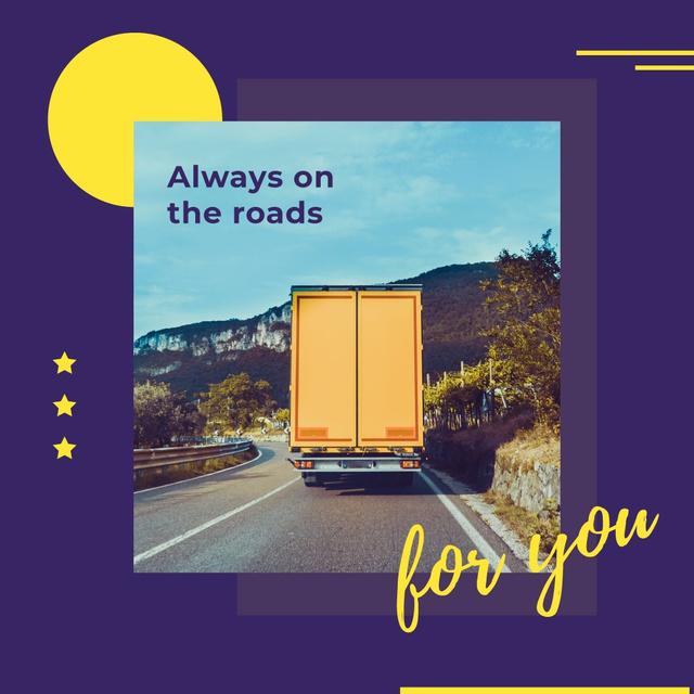 Truck driving on a road Instagram Modelo de Design