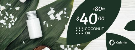 Cosmetics Offer with Natural Oil in Bottles Facebook cover Modelo de Design