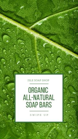 Soap Shop Ad with Drops on Leaf Instagram Story Modelo de Design