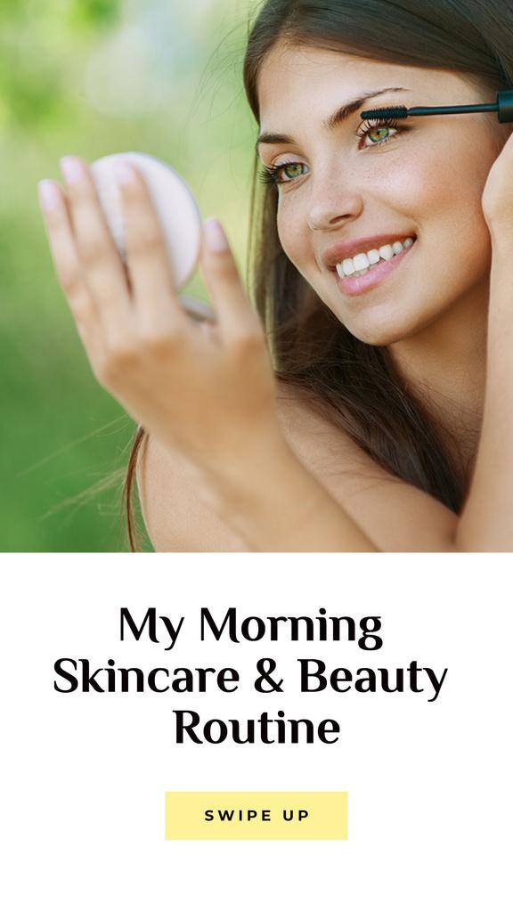 Skincare tips with Woman applying Makeup — ein Design erstellen