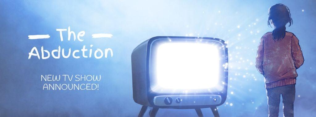 Girl watching tv with bright screen — Crear un diseño