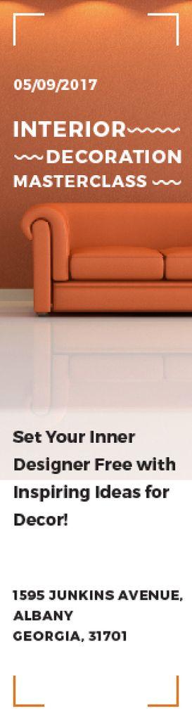 Interior Decoration Event Announcement Sofa in Orange — Créer un visuel