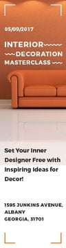 Interior Decoration Event Announcement Sofa in Orange | Wide Skyscraper Template