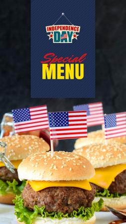 Independence Day Menu with Burgers Instagram Story Tasarım Şablonu