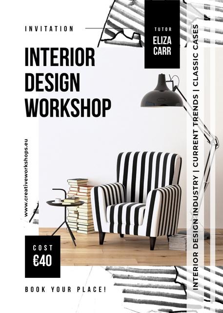 Ontwerpsjabloon van Invitation van Interior Workshop ad in monochrome colors