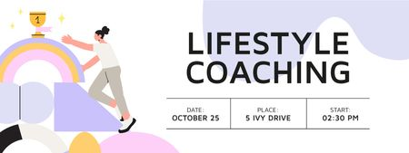 Ontwerpsjabloon van Ticket van Lifestyle Coaching Event with Woman reaching Cup
