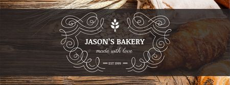 Plantilla de diseño de Bakery Offer with Fresh Croissants on Table Facebook cover
